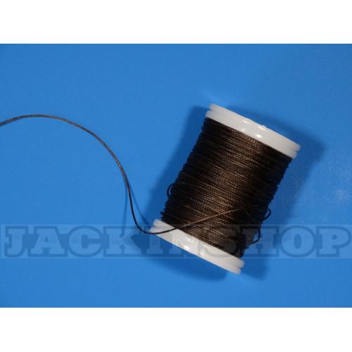 Вощеная, кругла нитка 0,6 мм, темно коричнева бобіна 75 м