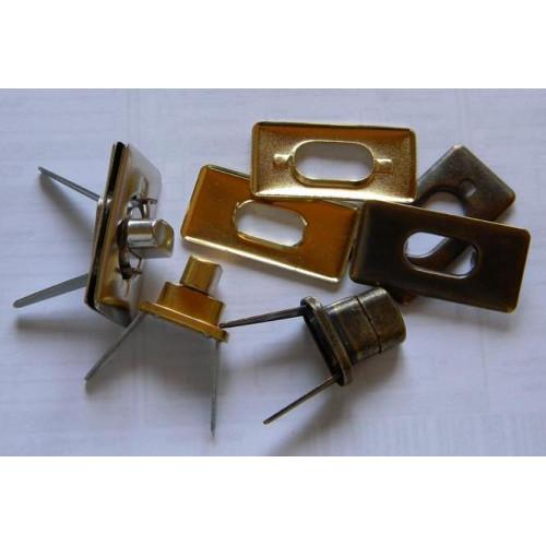 Застёжка поворотная (прямоугольная, никель) №1