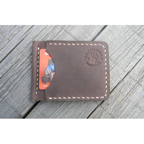 Прижим для купюр пружинный (наружные карманы, коричневый)